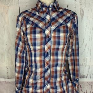 VTG. Lasso Western Plaid Pearl button Shirt